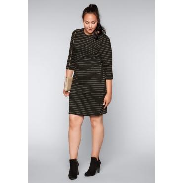 Große Größen: Jerseykleid mit Effektgarn, schwarz-goldfarben, Gr.44-58
