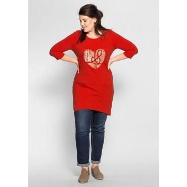 Große Größen: Jerseykleid mit Frontdruck, erdbeerrot, Gr.40-58