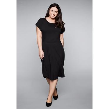 Große Größen: Jerseykleid mit gelegten Falten, schwarz, Gr.44-58