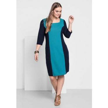 Große Größen: Jerseykleid mit Karree-Ausschnitt, marine-italienblau, Gr.40-58