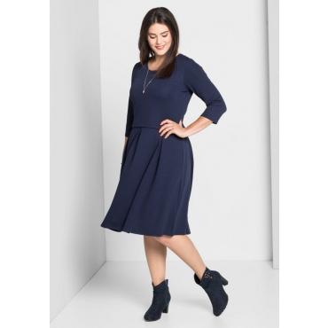 Große Größen: Jerseykleid mit Kellerfalten, marine, Gr.40-58