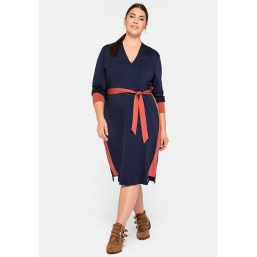 Jerseykleid mit Kontrastdetails und Schalkragen, marine, Gr.44-58