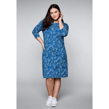 Große Größen: Jerseykleid mit Kontraststreifen, royalblau, Gr.44-58