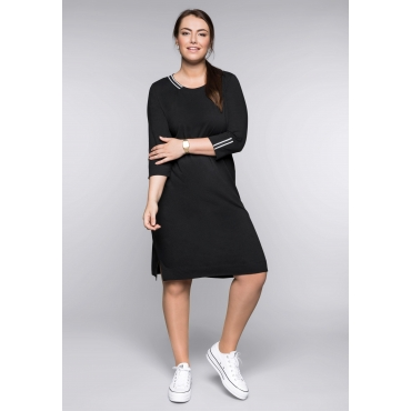 Große Größen: Jerseykleid mit Kontraststreifen, schwarz, Gr.44-58