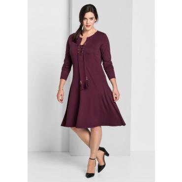 Große Größen: Jerseykleid mit langem Arm, aubergine, Gr.40-58