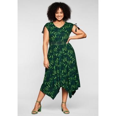 Jerseykleid mit Palmendruck, in Zipfelform, grün bedruckt, Gr.44-58