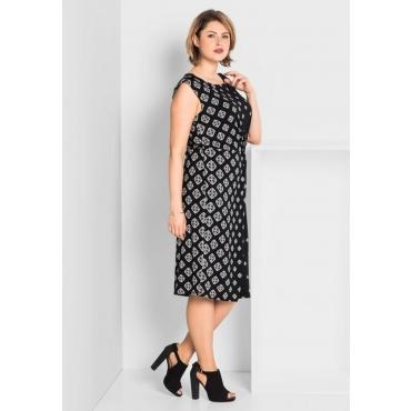 Große Größen: Jerseykleid mit raffiniertem Druck, schwarz bedruckt, Gr.40-58