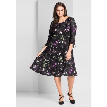 Große Größen: Jerseykleid mit schwingendem Rockteil, schwarz bedruckt, Gr.44-58