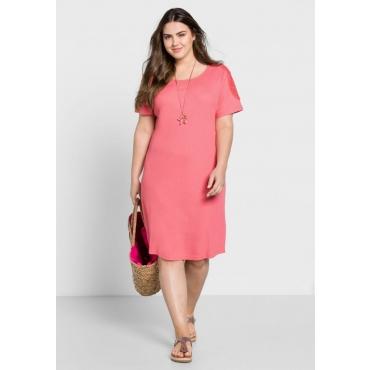 Große Größen: Jerseykleid mit Spitze, guave, Gr.44-58