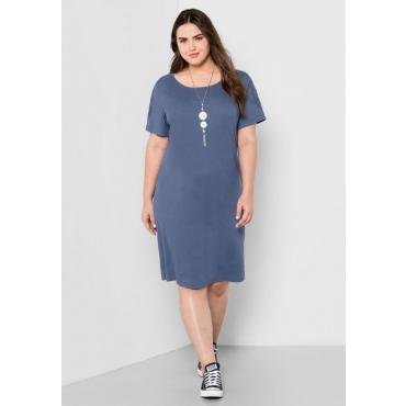 Große Größen: Jerseykleid mit Spitze, rauchblau, Gr.44-58