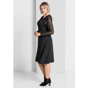 Große Größen: Jerseykleid mit Spitzendetails, schwarz, Gr.40-58
