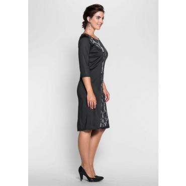 Große Größen: Jerseykleid mit Spitzeneinsatz, schwarz, Gr.40-58