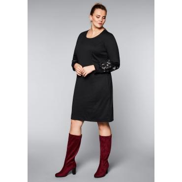 Große Größen: Jerseykleid mit Stickereien, schwarz, Gr.44-58