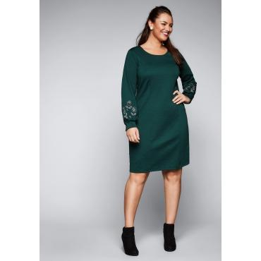 Große Größen: Jerseykleid mit Stickereien, tiefgrün, Gr.44-58