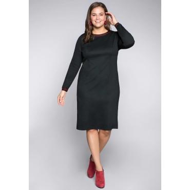 Jerseykleid mit Streifendetails und Glanzgarn, schwarz, Gr.44-58