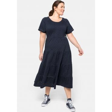 Jerseykleid mit Stufenrock, in Midilänge, nachtblau, Gr.44-58