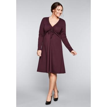 Große Größen: Jerseykleid mit tiefem V-Ausschnitt, aubergine, Gr.44-58
