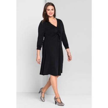 Große Größen: Jerseykleid mit tiefem V-Ausschnitt, schwarz, Gr.44-58