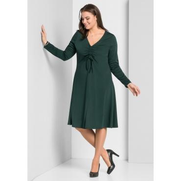 Große Größen: Jerseykleid mit tiefem V-Ausschnitt, tiefgrün, Gr.44-58