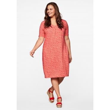 Jerseykleid mit V-Ausschnitt und Alloverdruck, lachs, Gr.44-58