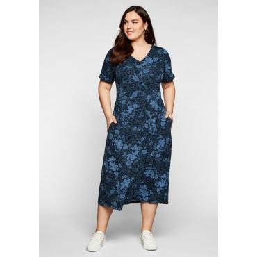 Jerseykleid mit V-Ausschnitt und Blumendruck, nachtblau bedruckt, Gr.44-58