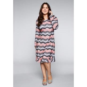 Große Größen: Jerseykleid mit V-Ausschnitt und Volant, gemustert, Gr.44-58