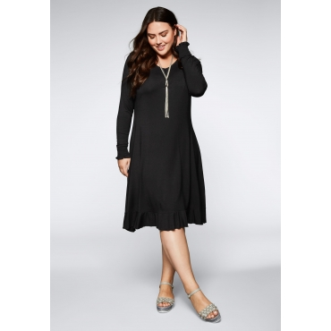 Große Größen: Jerseykleid mit V-Ausschnitt und Volant, schwarz, Gr.44-58