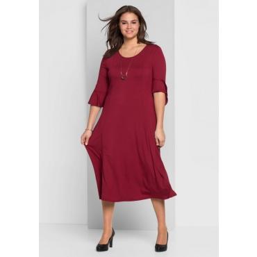 Große Größen: Jerseykleid mit Volantärmeln, bordeaux, Gr.44-58