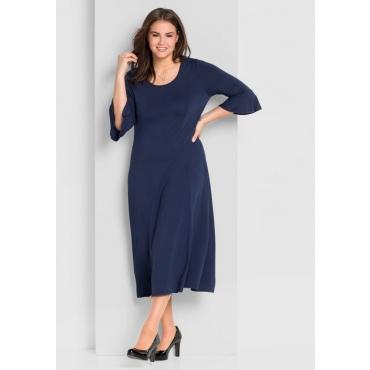 Große Größen: Jerseykleid mit Volantärmeln, marine, Gr.44-58