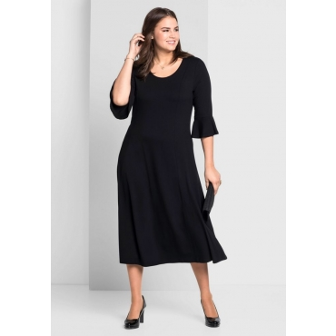 Große Größen: Jerseykleid mit Volantärmeln, schwarz, Gr.44-58