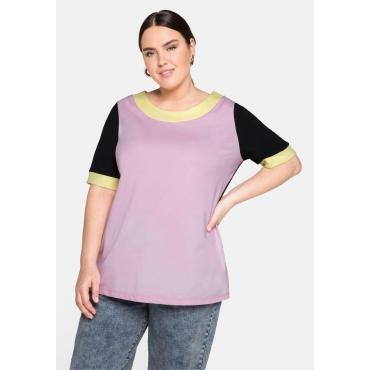 Jerseyshirt im Colourblocking-Look, nachtlila, Gr.44/46-56/58