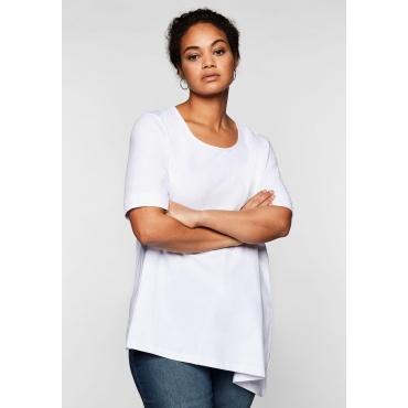 Jerseyshirt mit abgeschrägtem Saum, weiß, Gr.44/46-56/58