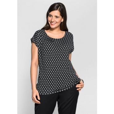 Jerseyshirt mit Alloverdruck, schwarz-weiß, Gr.40/42-56/58