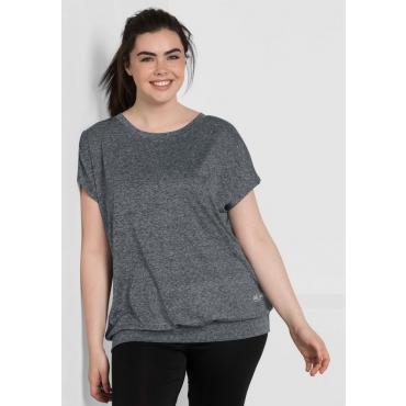 Große Größen: Jerseyshirt aus Funktionsmaterial, grau meliert, Gr.44/46-56/58