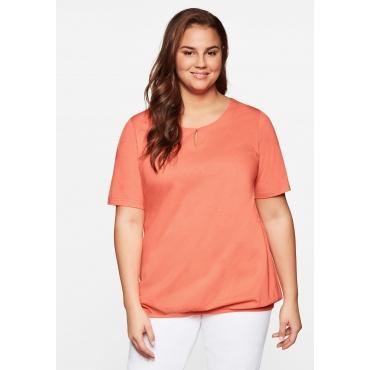 Jerseyshirt mit Cut-out und elastischem Bund, lachs, Gr.44/46-56/58