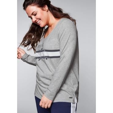 Große Größen: Jerseyshirt mit Frontdruck, grau meliert, Gr.44/46-56/58