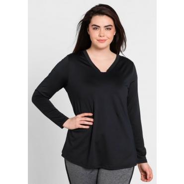 Große Größen: Jerseyshirt aus Funktionsmaterial, schwarz, Gr.44/46-56/58