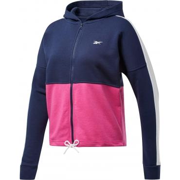 Kapuzensweatjacke, marine-pink, Gr.44/46-56/58