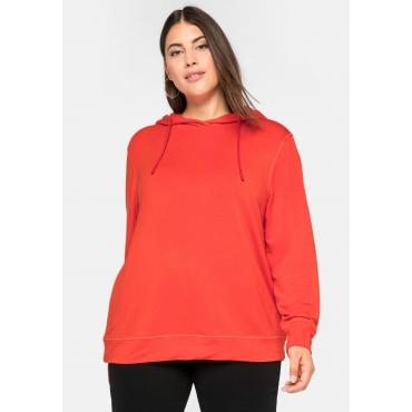 Kapuzensweatshirt mit 3D-Druck vorn, aus Viskose-Sweat, rostorange, Gr.44/46-56/58