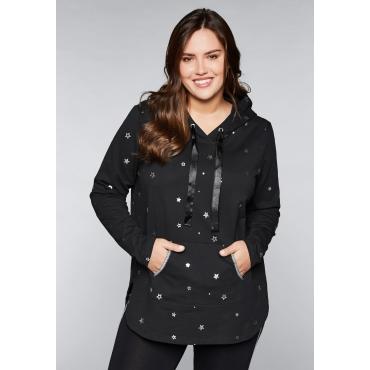 Große Größen: Kapuzensweatshirt mit Stern-Alloverdruck, schwarz, Gr.44/46-56/58