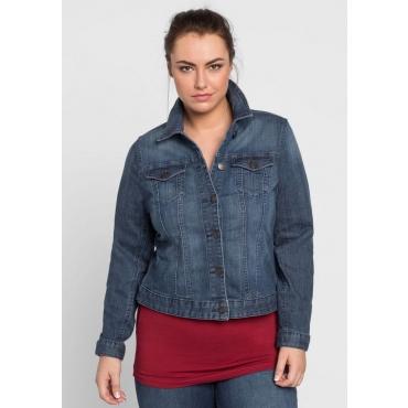 Große Größen: Jeansjacke mit Used-Effekten und Verstellriegel, dark blue Denim, Gr.40-58