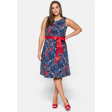 Kleid aus Baumwollsatin mit Blumendruck, marine bedruckt, Gr.44-58