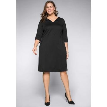 Große Größen: Kleid aus elastischem Interlock, schwarz, Gr.44-58