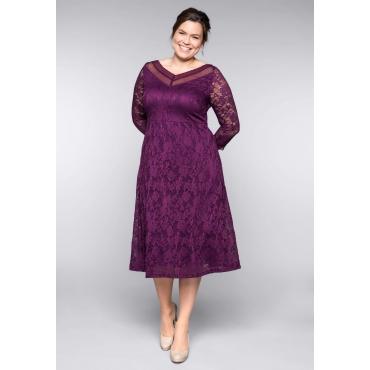 Große Größen: Kleid aus floraler Spitze, lila, Gr.44-58