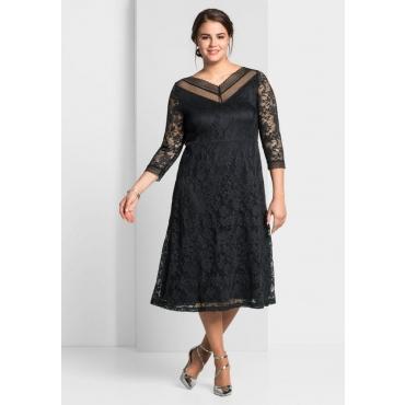 Große Größen: Kleid aus floraler Spitze, schwarz, Gr.44-58