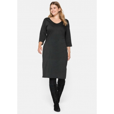 Kleid aus Interlock, mit seitlicher Raffung links, anthrazit meliert, Gr.44-58