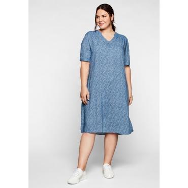 Kleid aus leichter Viskose, in A-Linie, jeansblau bedruckt, Gr.44-58
