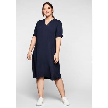 Kleid aus leichter Viskose, in A-Linie, marine, Gr.44-58