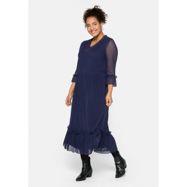 Kleid aus Mesh im Streifen-Look, mit Unterkleid, dunkellila, Gr.44-58
