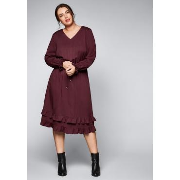 Große Größen: Kleid aus reiner Viskose, bordeaux, Gr.44-58